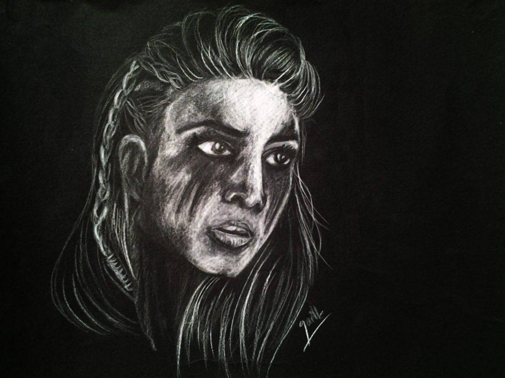 dessin papier noir portrait