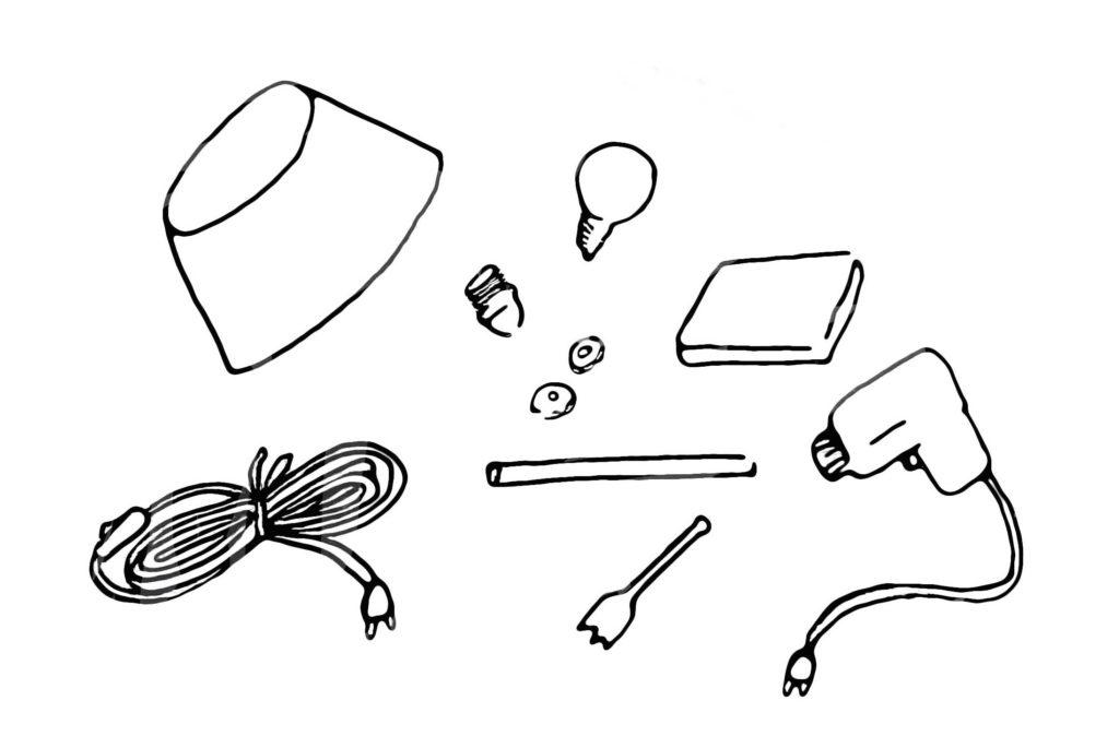 comment fabriquer une lampe de chevet crayons pinceaux. Black Bedroom Furniture Sets. Home Design Ideas