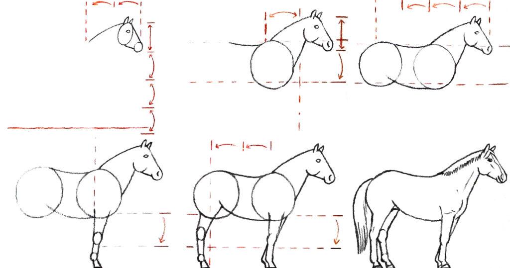 Comment dessiner un cheval crayons et pinceaux - Dessins de chevaux facile ...