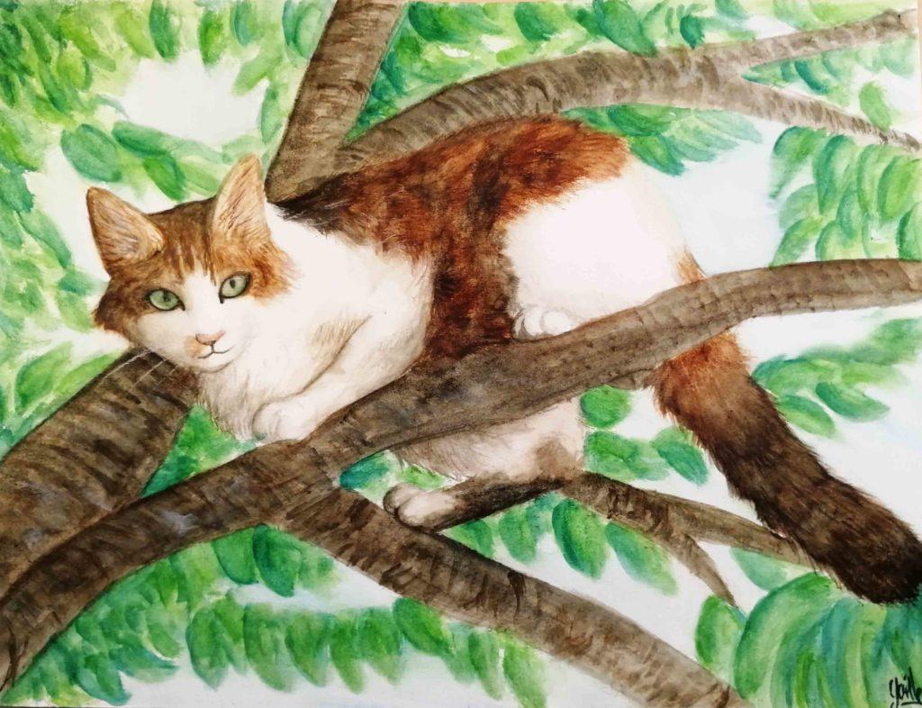 Dessin de chat à l'aquarelle