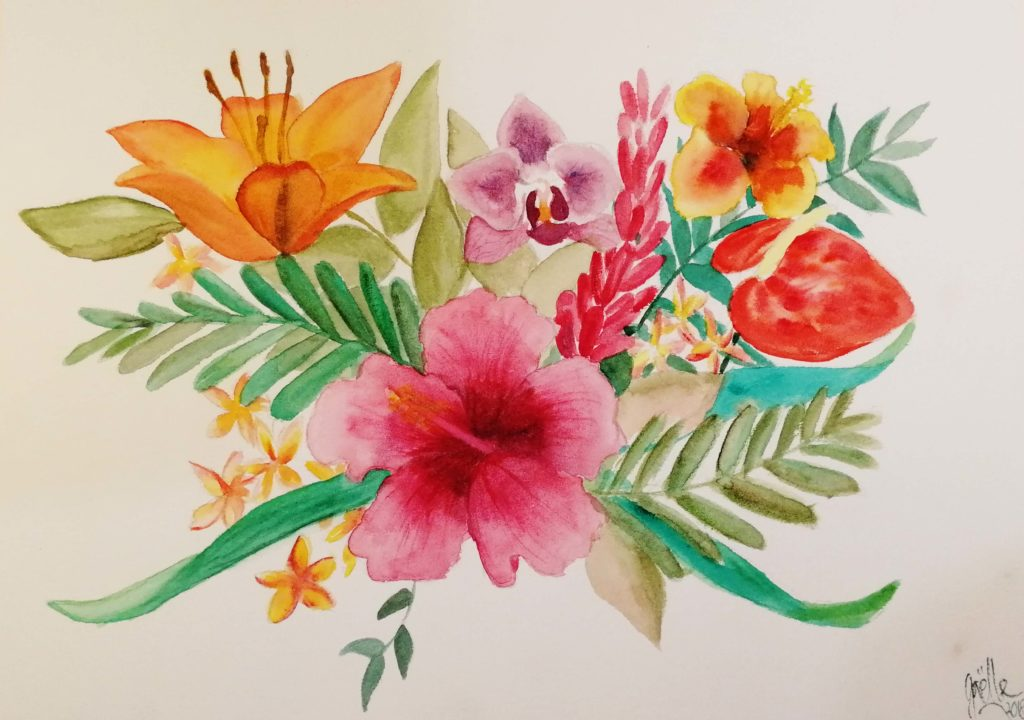 dessin de fleur à l'aquarelle