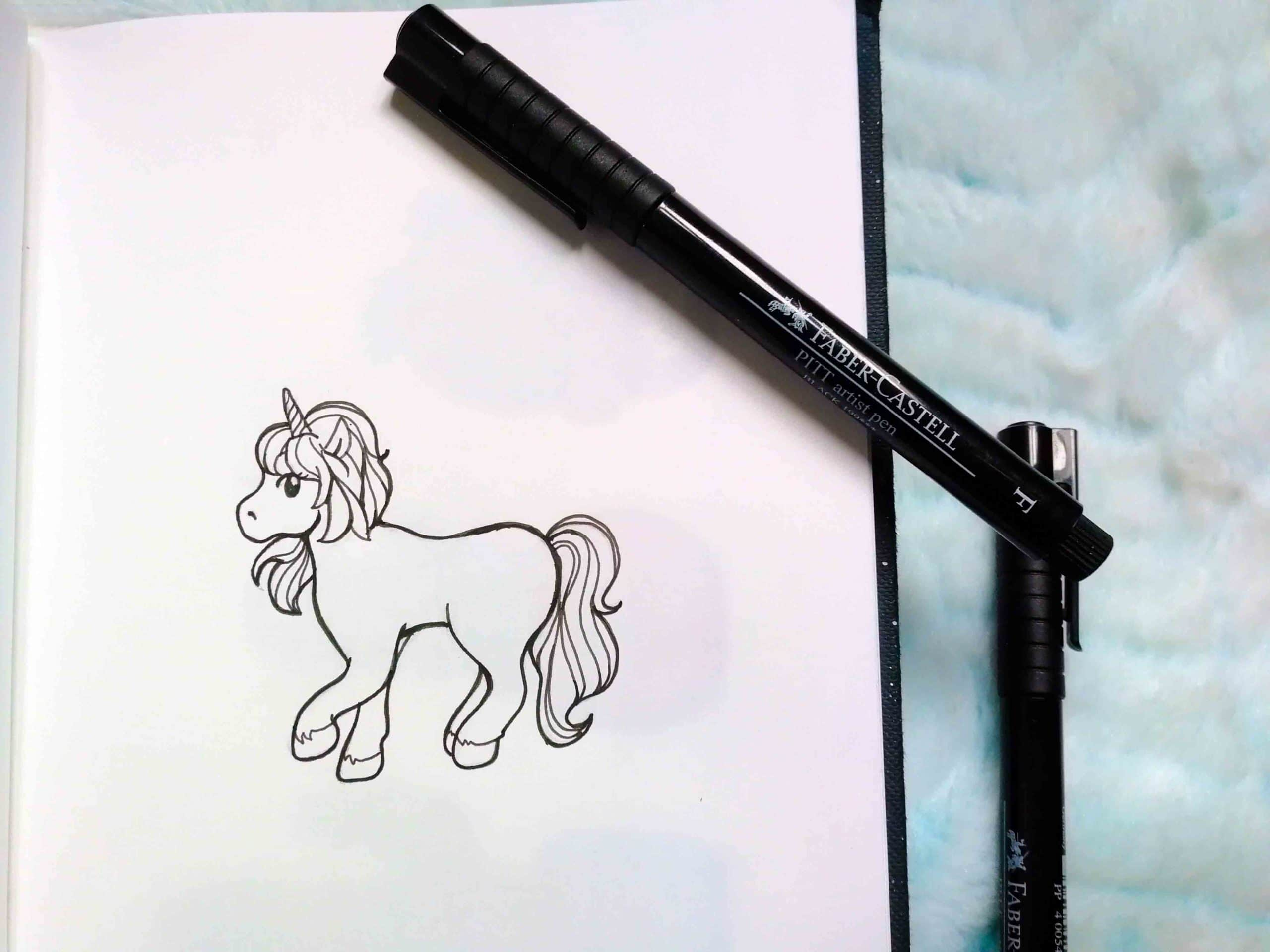 dessin licorne kawaii