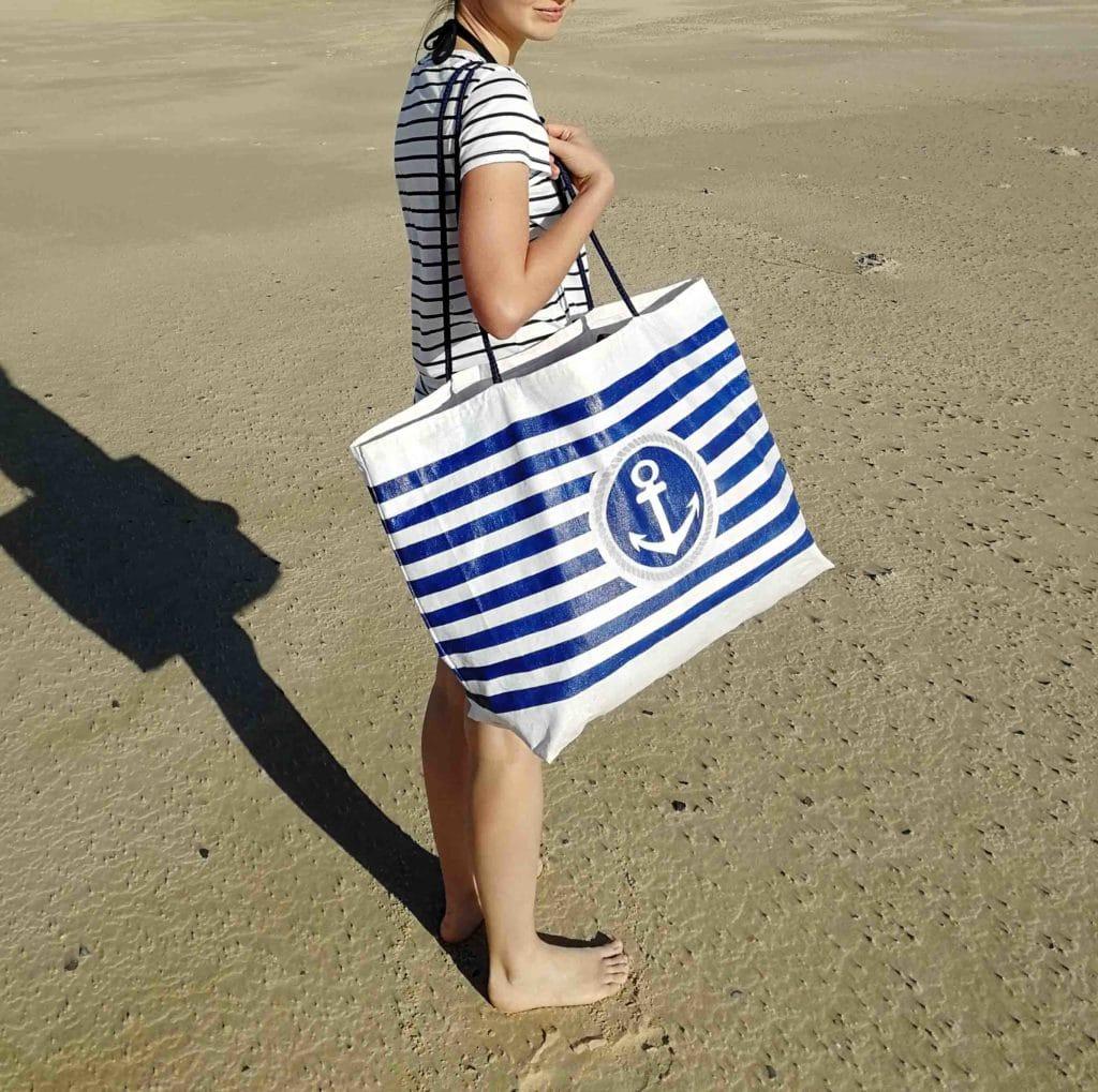 sac de plage ancre et rayure