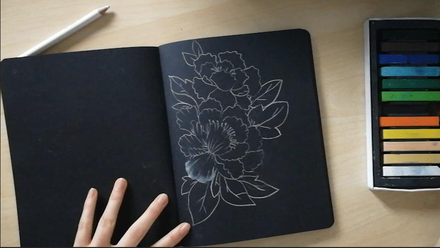 etape 1 dessin sur papier noir