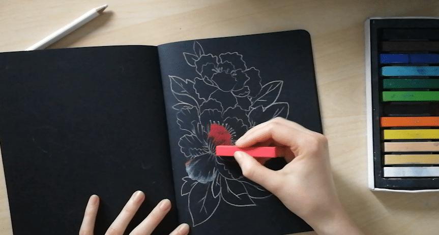etape 2 pastel sur papier noir
