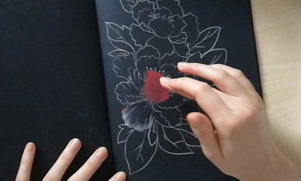etape 3 dessin pastel sur papier noir