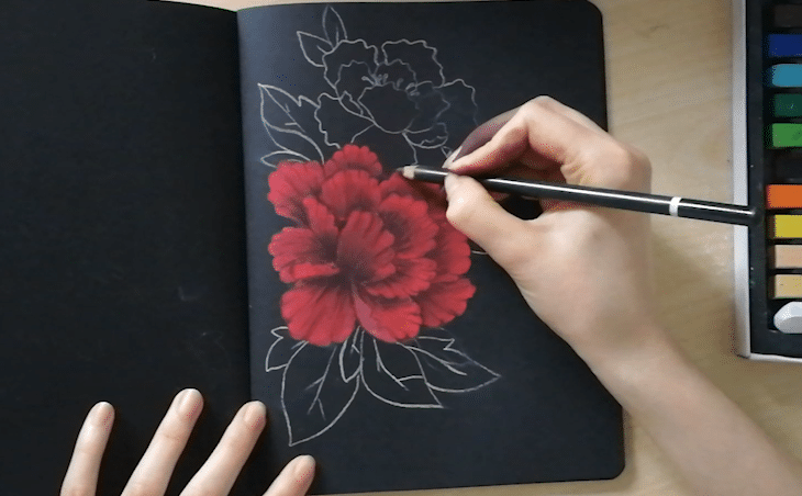 dessin pastel papier noir