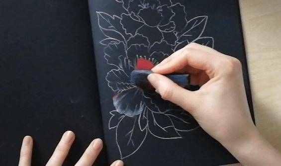 etape 4 dessin pastel papier noir
