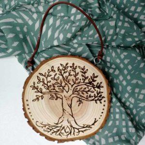 rondin gravé arbre de vie